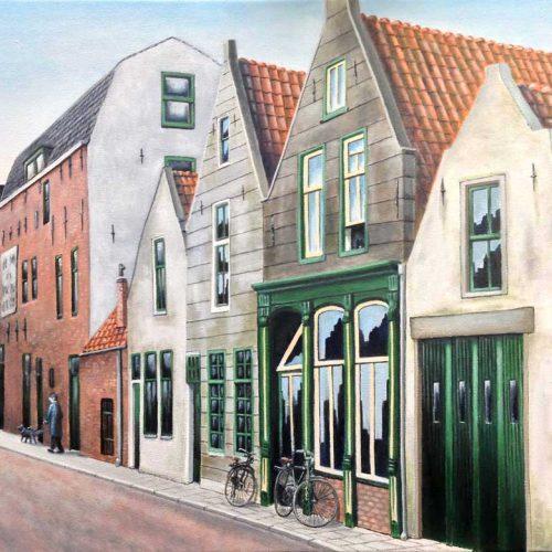 'Oud Schoonhoven', olieverf, 30x40 cm, (verkocht)