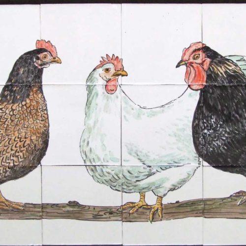 'Kippentableau' op friese witjes geschilderd