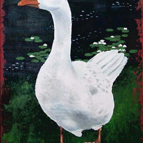 'Gijs de gans', olieverf, 50x70 cm
