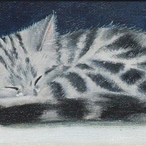 'Gijs', olieverf, 12x7 cm