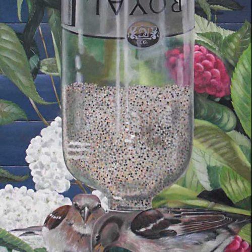 'Mussen aan voersilo', olieverf, 50x70 cm