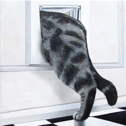'Bobbie gaat wandelen', olieverf, 60x60 cm