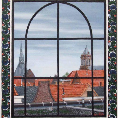 'Schoonhoven door kerkraam' olieverf, 50x60 cm