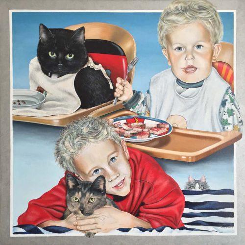 'Happy Family', olieverf, 100x100 cm, (verkocht)